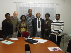 From left to right: Mrs. Jessie Phiri, Field Operations Manager, Dr. Richard Bail, Mrs. Edna Mudenda, Professor Manenga Ndulo, Professor Pattrick Mvunga, Mrs. Jane Ndulo, Dr. Mukachilima Chikuba Not pictured: Sula Mahoney